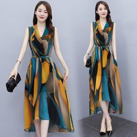 Casual Dresses Light Luxury Design Dress Sets Summer Fashion Sleeveless V Neck Printed Slim Two Piece Clothes