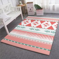 Carpets For Living Room Ethnic Style Pink Geometric Pattern Crystal Velvet Thickening Area Rug Bedroom 100% Polyester