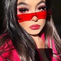 Güneş Kadınlar 2021 Moda Gözlük Sıradışı Gözlük Kırmızı Pembe Temizle Lens Kişilik Güneş Shades UV400