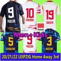 21 22 Forsberg Poulsen Leipziges Jerseys 2021 2022 Olmo Hee-chan Maillot Nkunku Sabitzer Szoboszlai Sørloth Angelino Camisas de futebol Homens Kits Kits uniforme