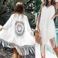 Imcute 2021 Sommer Frauen Quaste Bikini Covers Beachwear Swimwear Cover-up Damen Kleid Sarong Tunika Kleider