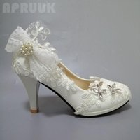 Dress Shoes Womens Wedding White Lace Plus Size Butterfly-knot Bow Party Ladies Proms Ceremony Dancing Spring Autumn