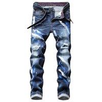 2021 Весна Новые Мужские Homme Pantalones Homebreward Blue Джинсы Мода Граффити Регулярное Fit Растяжка Джинсовые штаны GWS0
