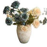 """Декоративные цветы венки 7 шт. Поддельные длинные стволоки Керлинг Роуз (5 голов / шт.) 34 """"Длина моделирования осенью роза для свадьбы дома искусственный"""