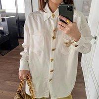 여성용 블라우스 셔츠 스트라이프 화이트 셔츠 여성 골드 버튼 느슨한 긴 소매 옷깃 블라우스 2021 가을