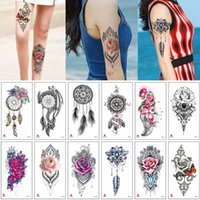 Temporary Tattoos Fake Henna Flower Lace Water Transfer Tattoo Dreamcatcher Jewelry Choker For Woman Chest Arm Body Makeup Design