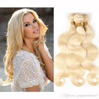 Brazilian Body Wave Straight Hair Weaves Double Wefts 100g  Pc 613 Russian Blonde Color Can Be Dyed Human Remy Hair Extensions