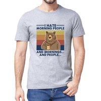 Oso para acampar Odio la mañana de la mañana y las mañanas Cuello de la vendimia Camiseta de los hombres del verano del verano del humor de las mujeres Top Tee 3xl