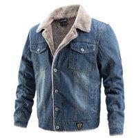 AIOPESON Plus Velvet Thick Denim Jacket Men Casual Lapel Cotton Jeans Jacket Men Fur Collar Warm Winter Mens Jackets And Coats 211011