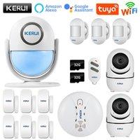 Kerui Tuya WiFi Sistema de alarma de seguridad Sistema inteligente Home Works con alexa Motion Detector de humo Detector de la puerta Camera de vigilancia Tarjeta SD