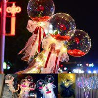 LED Dize Işık DIY Gül Çiçek Bobo Balonlar Peri Aydınlatma ile Sopa Şeffaf Buket Balonlar Parti Balon Düğün Tatil Dekorasyon Için