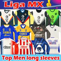 Liga MX 2020 2021 Futebol Jerseys Club América Tijuana Chivas Cruz Azul C.F. Monterrey 75ª mangas compridas camisetas Chándal de Fútbol