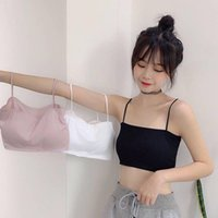 Camisoles & Tanks 2021 Sexy For Summer Women's Crop Top Wrapped Bandeau Bra Underwear Sleeveless Elastic 1Pcs Pure Clor Short Ice Silk