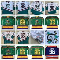 96 Charlie Conway O Poderoso Ducks Moive Hockey Jersey 33 Greg Goldberg 99 Adam Banks 66 Gordon Bombaim 44 Reed Instock Dupla Costura