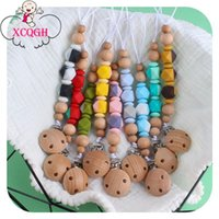 Pacifiers# XCQGH 1Pcs Colorful Silicone Beads Born Baby Pacifiers Clip Chain Beech Wooden Holder Dummy Feeding Soother