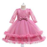 Girls Dresses Kids Clothes Children Clothing Long Sleeve Lace Bows Wedding Beauty Princess Flower Pageant Dress B8242