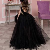 Flower Girls Dresses with Handmade Flower and Ribbon Ball Gown Jewel Puffy Dress for Weddings