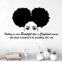 Wall Stickers Black Afro American African Girl Hair Women Salon Decal Decor Poster Inspirational Quotes Mural DW20958