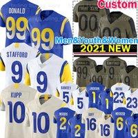 "9 Matthew Stafford Football Jersey 10 Cooper Kupp 99 Aaron Donald Rams ""Cam Akers Los 2 Robert Woods Angeles Tutu Atwell Jalen Ramsey desean Jackson Marshall Faulk"