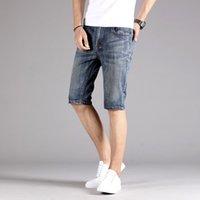 Роскошные мужские летние хлопчатобумажные джинсовые шорты мужчины повседневные подходят тонкие голубые джинсы джинсы мужские бермуды средняя талия шорты нами Великобритания 49-40