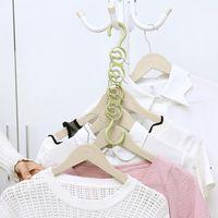 Plastique ménage cintre de rangement porte-armoire armoire multifonctionnel 4 trous coureur simple crochet sauvegarde espace 3 couleurs DWF5181