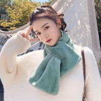 Scarves 25# Women Winter Thicken Plush Faux Fur Scarf Solid Color Collar Shawl Neck Warmer Shrugs Knitted Neckerchief Wrap