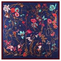 Scarves Twill Weave Silk Square Scarf Floral Butterfly Neckerchief Bandana Women Hijab Headwear Shawl Designer 130*130 Cm