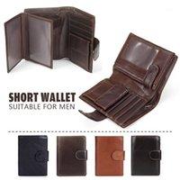 JH Vintage кожаный кошелек Minimalsit мужчины роскошные короткие кошельки PU кожаные мужчины кошелек карты чехол деньги клипы деньги сумка1