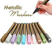 10 stücke farbe metallic marker stifte bunte ölbasis glitter metallkunst malerei stifte set für karte felsen malerei schreibwaren