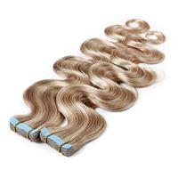 Tape dans les extensions de cheveux 100% Human Cheveux Vague de corps en surbrillance P18 / 613 Long Long Soft Remy Coiffure Skin The The The Tape Invisible Double Side Side 40PCS 100g