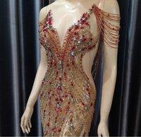 Evening dress Women cloth Gold Crystals V-Neck Mermaid Crystals Split Sequines Floor length Yousef aljasmi Kim kardashian Kylie jenner Kendal Tassel