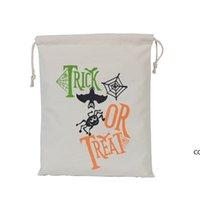Хэллоуин мешок конфеты подарок мешок угощение или трюк тыквенные напечатанные холст сумки Hallowmas Рождественская вечеринка фестиваль DrawString Bag Dhe8192