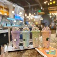450ml Netter Regenbogen Starbucks Cup Flasche Doppel Kunststoff Stroh Haustier Material Kinder Erwachsene Geschenkbecher