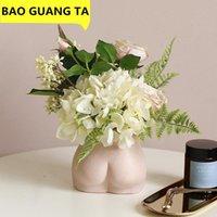 Vases Bao Guang Ta Pink Ceramic Arts Fille Buste Vase Décor Intérêt Cul Statue Statue Femme Modèle Pot de fleur Accueil Décoration R5457