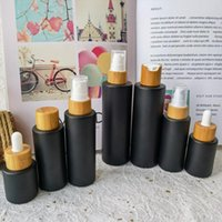 Storage Bottles & Jars Custom Cosmetic Perfume Bottle Container Matte Black Glass Spray Alcochol Empty With Bamboo Lid Refillable For Travel