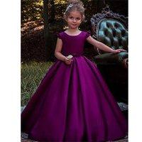 Girl's Dresses Purple Flower Girl Dress For Wedding Girls First Communion Satin Princess Gown With Beading Sash Elegant Kids