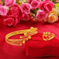 Bangle Gold Women's Version Push-pull Bracelet Vietnam Bangles For Women Ring Set Luxury Jewelry Ethnic Pulseras Mujer