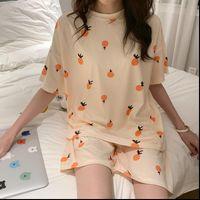 Lindo pijamas de verano de la estampada de la fruta de la fruta linda para las mujeres 2020 niñas suelta ropa de dormir casual sudor camisetas y pantalones cortos PJS Oswear