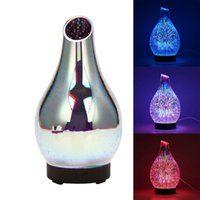 Humidifiers 3D 100ML Glass Colorful LED Humidifier Aroma Essential Oil Diffuser Ultrasonic For Home Bedroom