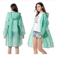 Nueva llegada de moda de encaje impermeable plástico EVA mujer con capucha con capucha larga trinchera capas de lluvia adulto al aire libre lluvia jllslo