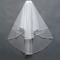 Bridal Veils Elegant Wedding Accessories Short Tulle Beading Veil White Ivory Two Layer With Comb