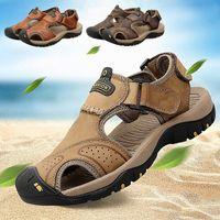 TANTU Erkekler Sandalet 2019 Yaz Nefes Eğlence Sandalet Ayakkabı Erkek Işık Hakiki Deri Çevirme Rahat Plaj Ayakkabı R12A #