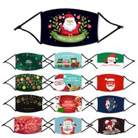 STOCK! Kids Cotton Printed Christmas Party US Xmas Face Masks Fashion Kids Anti Dust Snowflake Christmas Mouth Washable Reusable With Filter