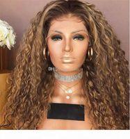 Silk top completo laço virgem peruca cabelo humano com cabelo bebê 100% não processado remy longo cor ombre cor grande encaracolado acessível para as mulheres