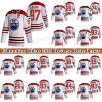 Edmonton Oillers 2021 Обратная ретро Джерси 97 Коннор McDavid 29 Leon Draisaitl 74 LNB 74 Ethan Bear 93 Ryan Nugent-Hobkins 99 Уэйн Грецкий Хоккей