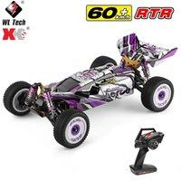 WLTOYS 2.4G RACING RC CAR 60 km / h Chasis de metal 4WD Road Drift Electric RC RC Control Toys para adultos Niños 124019 210729