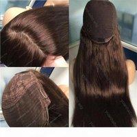 8A Grade Human Hair Brown Color 4 Best Sheestels 4x4silk Top Jüdische Perücken feinste europäische jungfräuliche Haare koscher Perücken kabellose Perücken freies Verschiffen