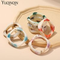 Bangle Vintage Resin Acrylic Geometric Irregular Square With Designer Charms Simple Style Bracelet For Women 2021 Jewelry