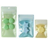 100 adet PE Plastik Renk Fermuar Çanta Ambalaj Poket Mini Ön Temizle Pencere Asılı Delik Takı Kolye Depolama Hediye Mavi Kılıfı