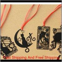 14 PCS / Lot dessin animé Black Cat Metal Bookmarks pour livres onglet Cahier à cahier Livre Marquer la papeterie Fournitures Marcador de Livro Y19062803 T Z25S7